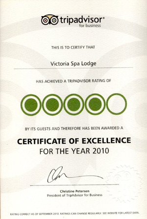 Trip Advisor Certificate of Excellence 2010